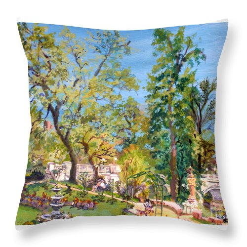 Josephine Garden Throw Pillow featuring the painting Josephine Gardens by Keith OBrien Simms