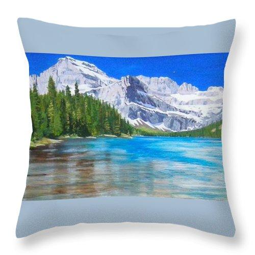 Josephine Lake Throw Pillow featuring the painting Josephine Lake by Paul Larson