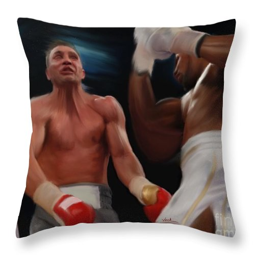 Anthony Joshua Throw Pillow featuring the painting Joshua Klitschko Tko by Jack Bunds