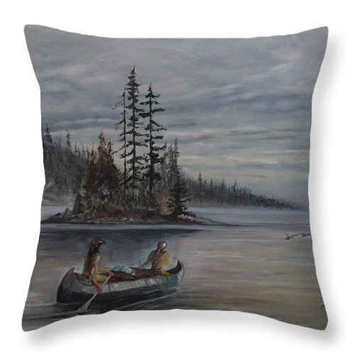 First Nation Throw Pillow featuring the painting Journey - Lmj by Ruth Kamenev