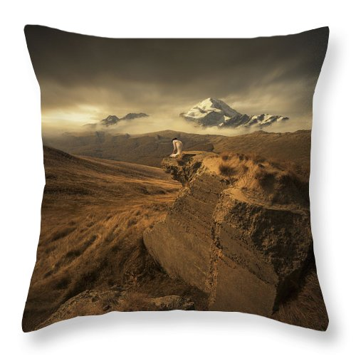 Mountains Ruins Valley Peak Snow Landscape Grass Figure Naked Loneliness Sky Light Sun Freedom Space Wide Throw Pillow featuring the photograph Journey Of One by Michal Karcz