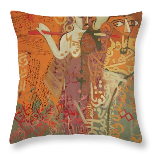 Symbolic Art Calligraphy Throw Pillow featuring the painting Journey With Ishtar by Paul Batou