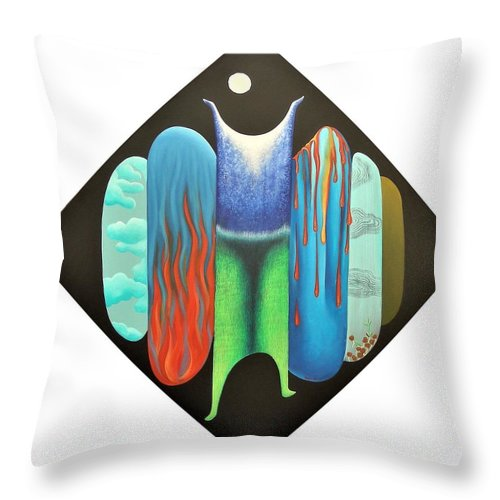Romantic Throw Pillow featuring the painting Journy- 15 by Raju Bose