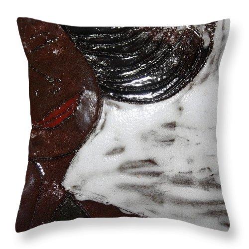 Jesus Throw Pillow featuring the ceramic art Joy - Tile by Gloria Ssali