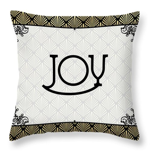Happiness Throw Pillow featuring the digital art Joy - Art Deco by Ruth Moratz