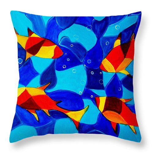 Abstract.acrylic.fish.bubbles.art.painting.modern.contemporary.popblue Red Bubbles Yellow Landscape Throw Pillow featuring the painting Joy Fish Abstract by Manjiri Kanvinde