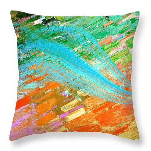 Abstract Throw Pillow featuring the digital art Joy In Abstract by Elaine Weiss