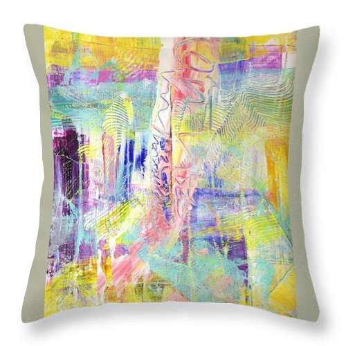 Abstract Throw Pillow featuring the painting Joy In The Morning by Wayne Potrafka