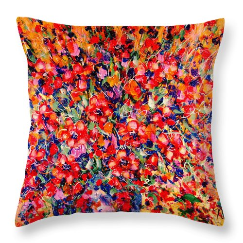 Flowers Throw Pillow featuring the painting Joy Of Summer by Natalie Holland