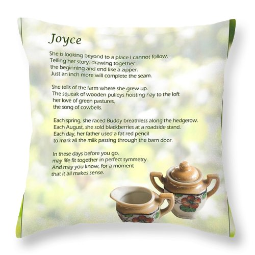 Throw Pillow featuring the photograph Joyce Poem by Joy Underhill