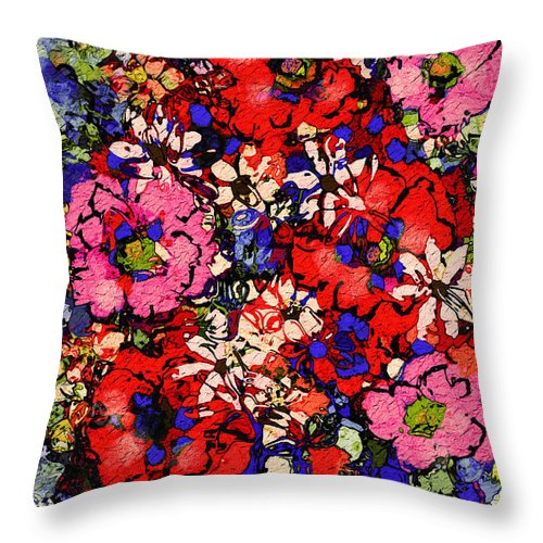 Floral Abstract Throw Pillow featuring the painting Joyful Flowers by Natalie Holland