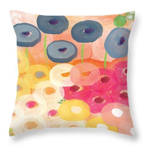 Flower Art Throw Pillow featuring the painting Joyful Garden 3 by Linda Woods