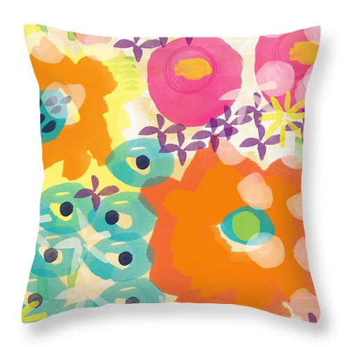Flowers Throw Pillow featuring the painting Joyful Garden by Linda Woods