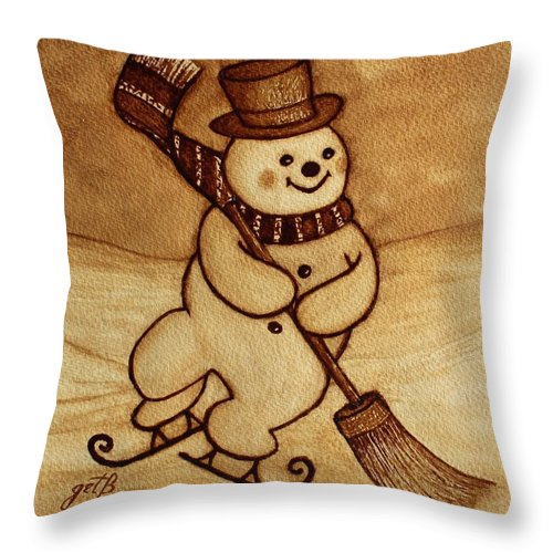 Snowman Skating Throw Pillow featuring the painting Joyful Snowman Coffee Paintings by Georgeta Blanaru
