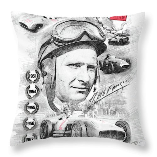World Champion Throw Pillow featuring the drawing Juan Manuel Fangio by Theodor Decker