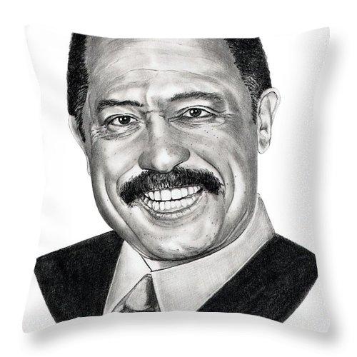 Judge Joe Brown Throw Pillow featuring the drawing Judge Joe Brown by Murphy Elliott