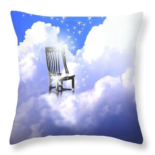 Chair Throw Pillow featuring the digital art Judgement by Cathy Beharriell
