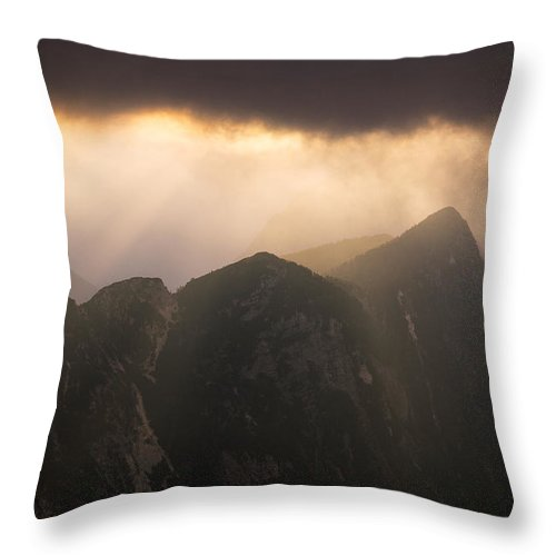 Landscape Throw Pillow featuring the photograph Sun Shining Through The Storm Clouds In The Mountains by Blaz Gvajc
