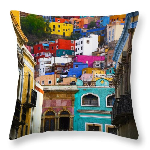 Architecture Throw Pillow featuring the photograph Juegos In Guanajuato by Skip Hunt