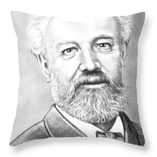 Jules Verne Throw Pillow featuring the drawing Jules Verne by Murphy Elliott