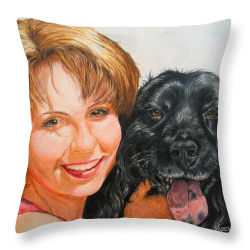 Girls Throw Pillow featuring the drawing Juli and Sam by Karen Ilari