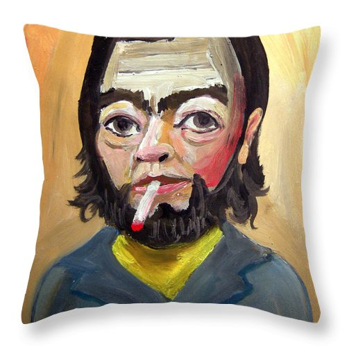 Escritor Throw Pillow featuring the painting Julio Cortazar by Diego Manuel
