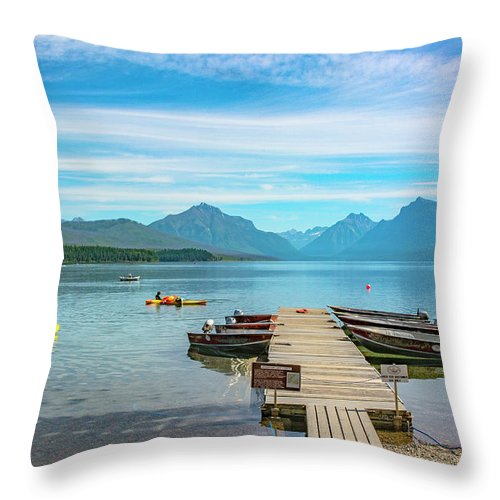 Montana Throw Pillow featuring the photograph July 4th on Lake McDonald by Bryan Spellman
