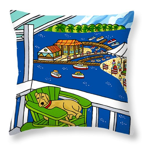 Cedar Key Throw Pillow featuring the painting July 4th Snoozer - Cedar Key by Mike Segal