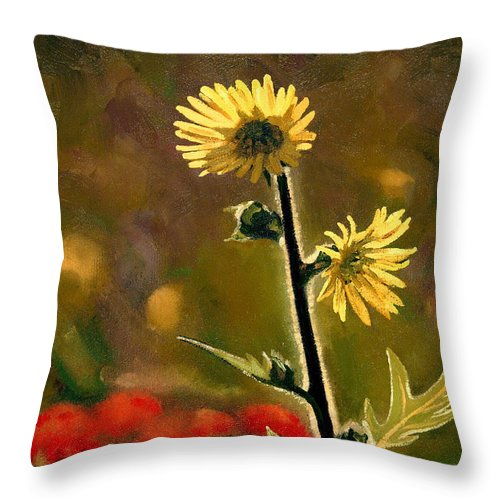 Prairie Flowers Throw Pillow featuring the painting July Afternoon-compass Plant by Bruce Morrison