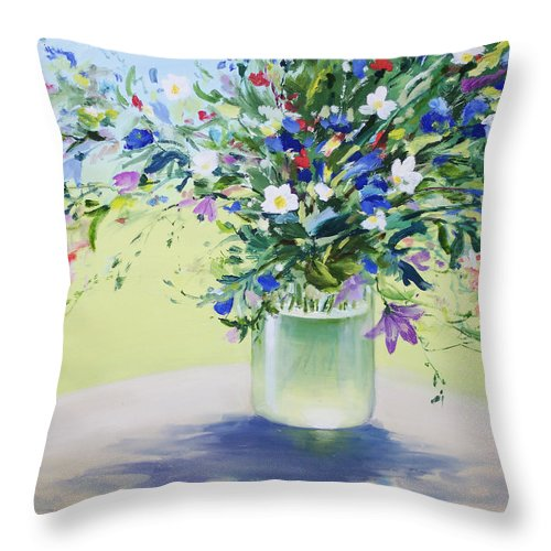 July Buquet Throw Pillow featuring the painting July Buquet by Vadim Rusu