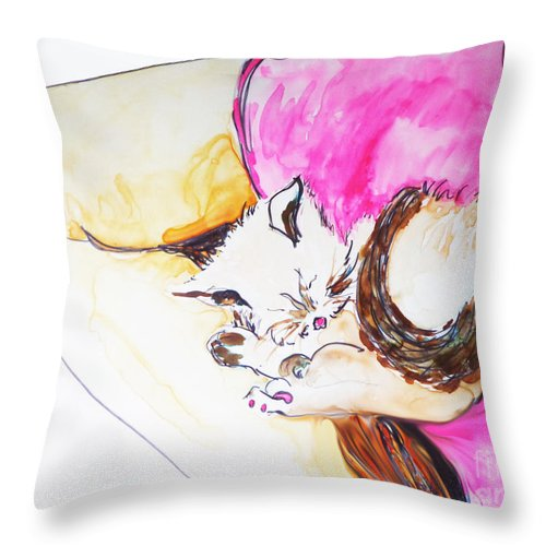Watercolor Kitten Throw Pillow featuring the painting July Kitty In Rachaels Lap by CheyAnne Sexton