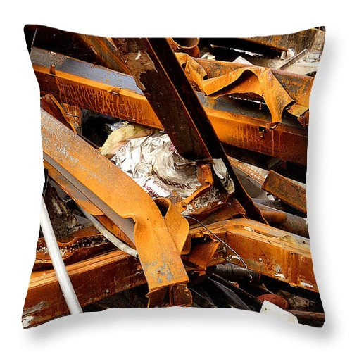 Steel Throw Pillow featuring the photograph Jumbled Steel by Jean Macaluso