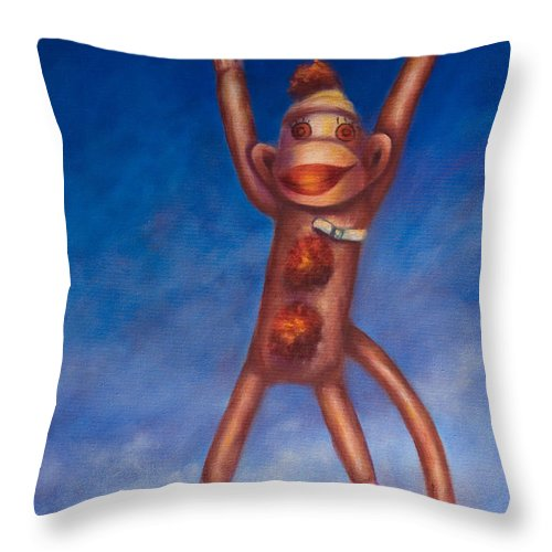 Children Throw Pillow featuring the painting Jump For Joy by Shannon Grissom