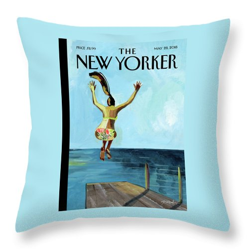 Jump! Throw Pillow featuring the drawing Jump by Gayle Kabaker