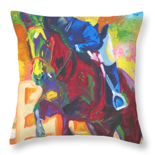 Horse Jumping Throw Pillow featuring the painting Jump Off by Michael Lee