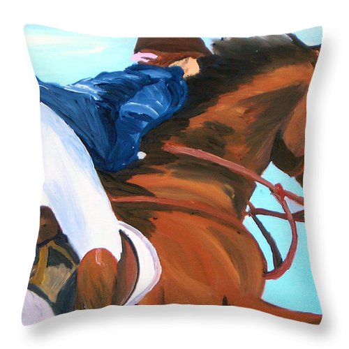 Horses Throw Pillow featuring the painting Jumper by Michael Lee