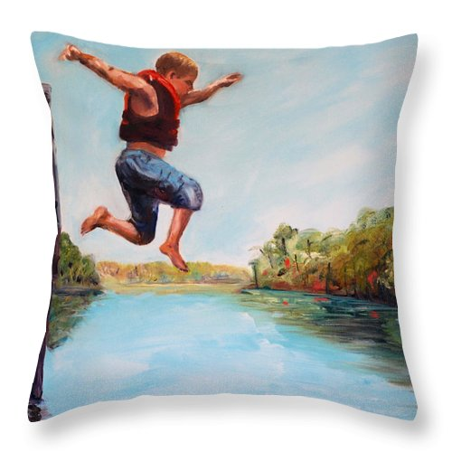 River Throw Pillow featuring the painting Jumping In The Waccamaw River by Phil Burton