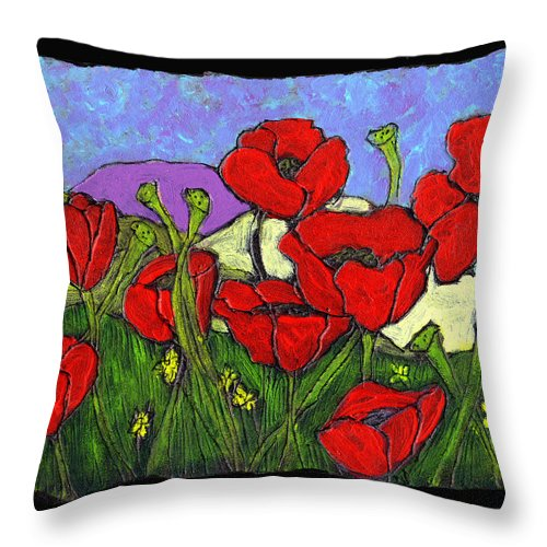 Poppies Throw Pillow featuring the painting June Poppies by Wayne Potrafka