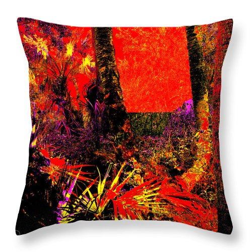 Square Throw Pillow featuring the digital art Jungle At The Corner Of Concha And Laconia by Eikoni Images