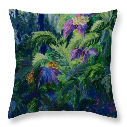 Jungle Throw Pillow featuring the painting Jungle Delights by Joanne Smoley