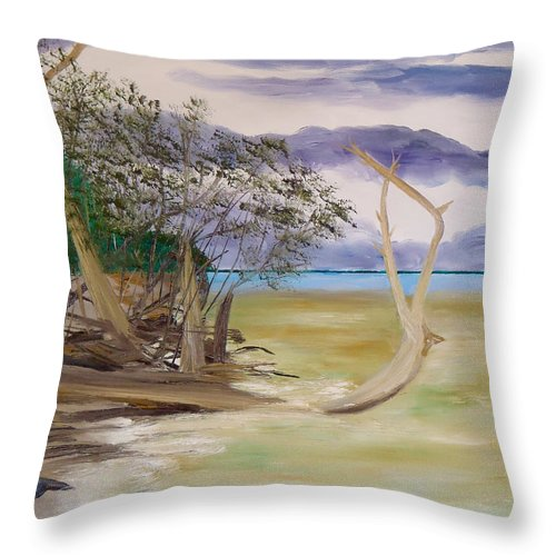 Jungle Gym Mangrove Tree Sanibel Island Hiking Walking Biking Bicycle Kayaking Ocean Gulf Of Mexico Sea Sand Fun Shelling Throw Pillow featuring the painting Jungle Gym Mangrove Tree by Troy Thomas