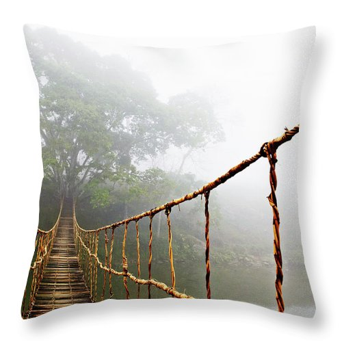 Rope Bridge Throw Pillow featuring the photograph Jungle Journey by Skip Nall