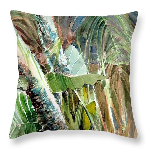Palm Tree Throw Pillow featuring the painting Jungle Light by Mindy Newman