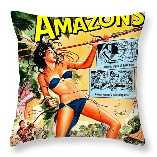 Jungle Movie Poster 1957 Throw Pillow featuring the photograph Jungle Movie Poster 1957 by Padre Art