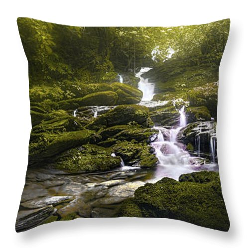 Waterfall Throw Pillow featuring the photograph Jungle Riverflow Scene by Luis Lyons