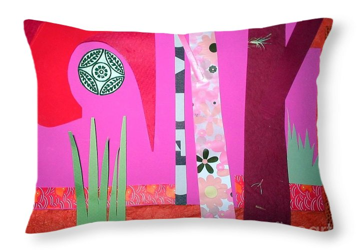 Landscape Throw Pillow featuring the mixed media Jungle Temple by Debra Bretton Robinson