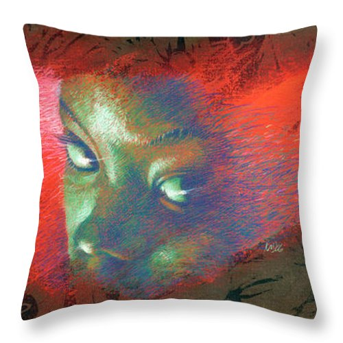 Portraits Throw Pillow featuring the painting Junglevision by Ken Meyer jr
