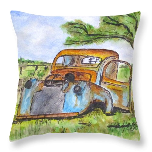 Junk Cars Throw Pillow featuring the painting Junk Car And Tree by Clyde J Kell