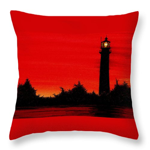 Lighthouse Throw Pillow featuring the painting Jupiter Lighthouse by Michael Vigliotti