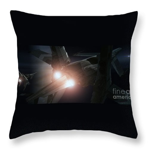 Space Throw Pillow featuring the digital art Jupiter Patrol by Richard Rizzo